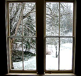 snowy window warm welcome