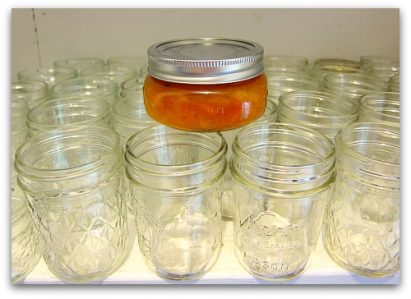 empty jelly jars in the pantry