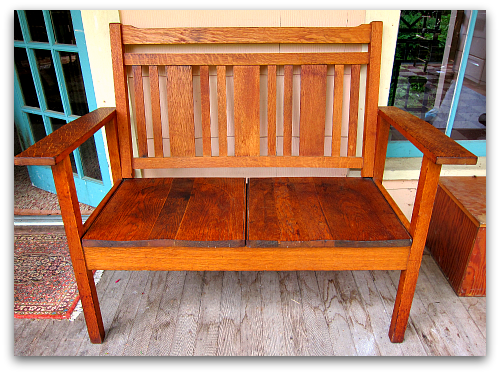 arts and crafts two seater bench Ill Take Garden Potpourri for $200, Alex
