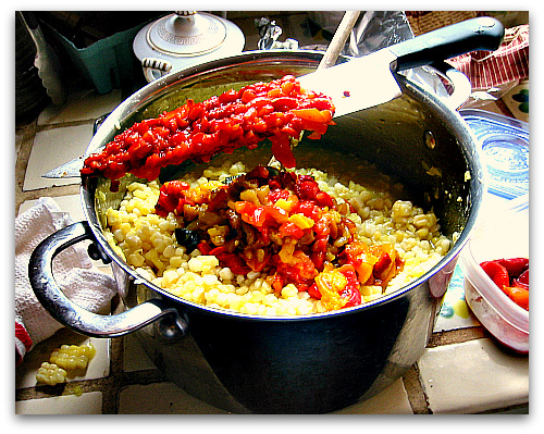homemade corn relish peppers
