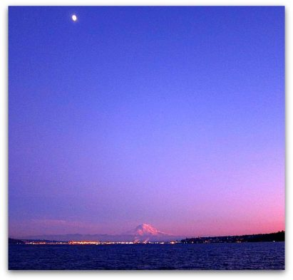 Just the Moon, Mount Rainier and Me