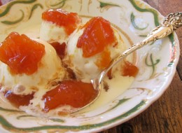 peach sauce nonpareil on ice cream
