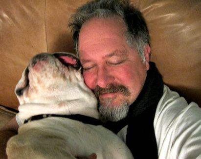 bulldog love hug Tom and Boz