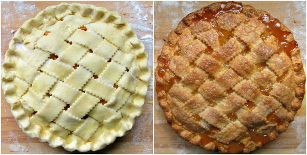 Lattice top on a peach pie